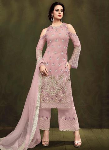 Light Pink Net Party Wear Embroidery Work Palazzo Suit