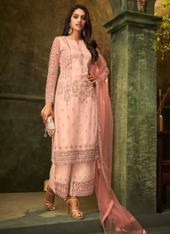 Peach Net Party Wear Embroidery Work Palazzo Suit