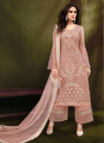 Pink Net Party Wear Embroidery Work Palazzo Suit