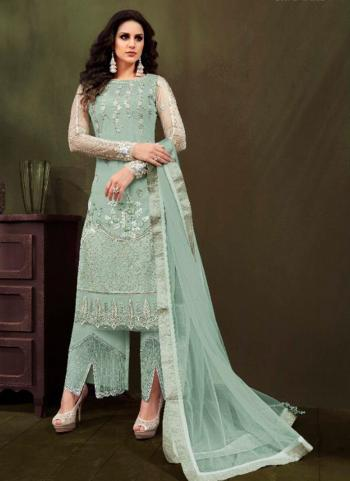 Pista Green Net Party Wear Embroidery Work Palazzo Suit