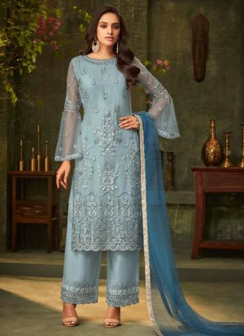 Sky Blue Net Party Wear Embroidery Work Palazzo Suit