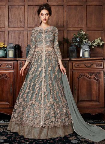 Grey Net Wedding Wear Sequins Work Anarkali Suit