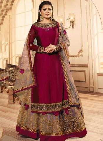 Dark Pink Georgette Reception Wear Embroidery Work Lehenga Suit