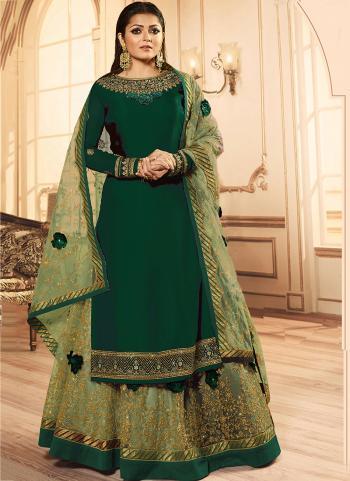 Green Georgette Reception Wear Embroidery Work Lehenga Suit