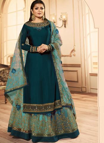 Rama Georgette Reception Wear Embroidery Work Lehenga Suit