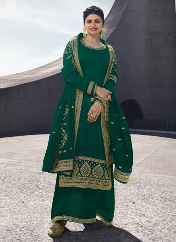 Green Georgette Satin Party Wear Embroidery Work Palazzo Suit