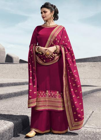 Pink Georgette Satin Party Wear Embroidery Work Palazzo Suit