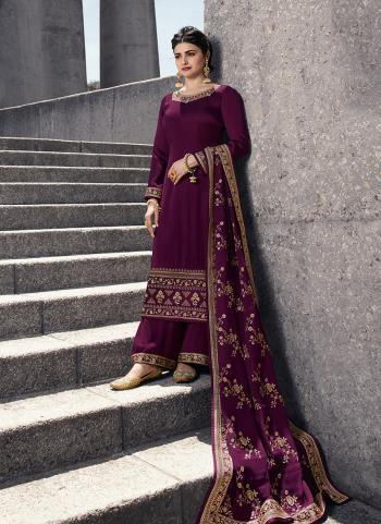 Purple Georgette Satin Party Wear Embroidery Work Palazzo Suit