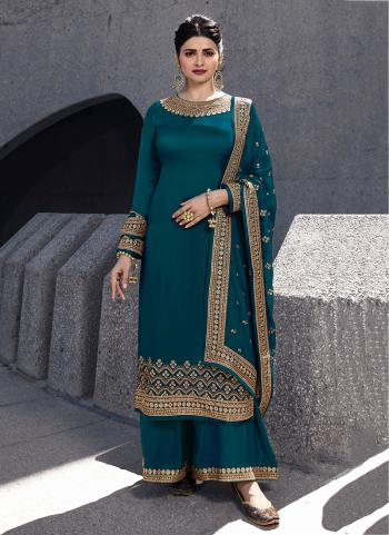 Rama Georgette Satin Party Wear Embroidery Work Palazzo Suit