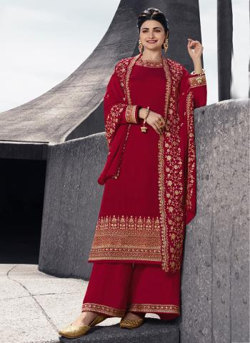 Red Georgette Satin Party Wear Embroidery Work Palazzo Suit