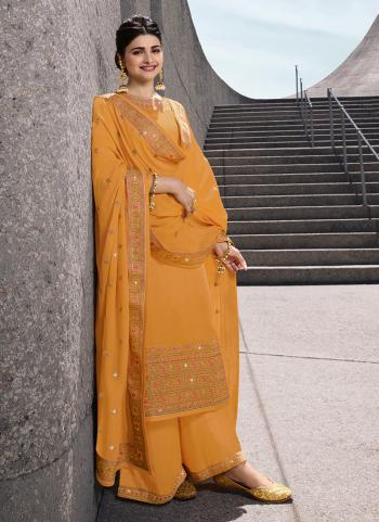 Yellow Georgette Satin Party Wear Embroidery Work Palazzo Suit