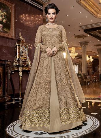 Beige Net Wedding Wear Embroidery Work Anarkali Suit
