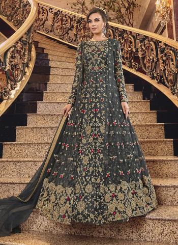 Black Net Wedding Wear Embroidery Work Anarkali Suit