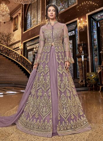 Light Violet Net Wedding Wear Embroidery Work A Line Suit