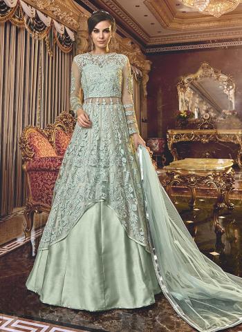 Sky Blue Net Wedding Wear Embroidery Work Anarkali Suit