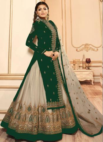 Green Faux Georgette Traditional Wear Embroidery Work Lehenga Suit
