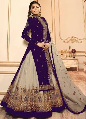Purple Faux Georgette Traditional Wear Embroidery Work Lehenga Suit
