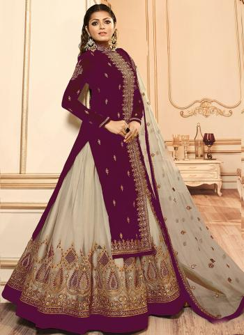 Violet Faux Georgette Traditional Wear Embroidery Work Lehenga Suit