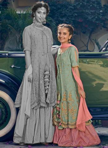 Pista Green Georgette Festival Wear Embroidery Work Kids Sharara Suit