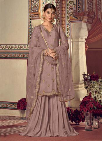Pink Shade Georgette Party Wear Embroidery Work Sharara Suit