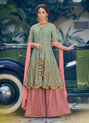 Pista Green Georgette Party Wear Embroidery Work Sharara Suit
