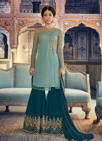 Sky Blue Net Party Wear Embroidery Work Sharara Suit