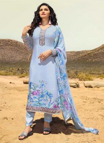 Blue Crepe Casual Wear Printed Straight Suit