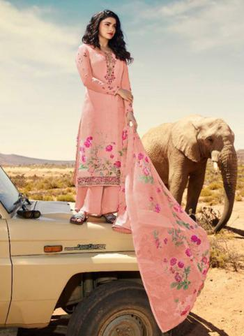 Pink Crepe Casual Wear Embroidery Work Straight Suit