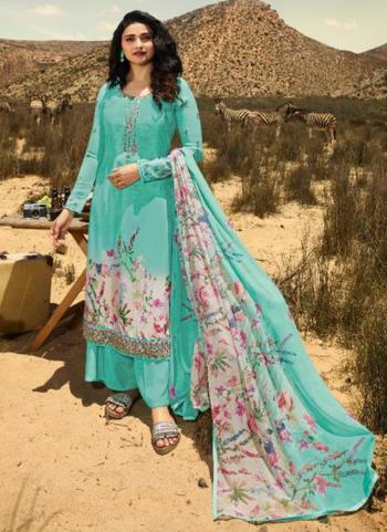 Pista Green Crepe Casual Wear Printed Straight Suit