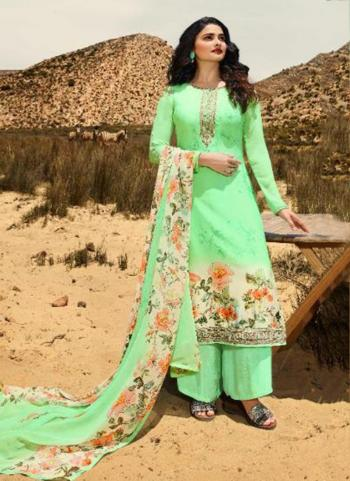 Sea Green Crepe Casual Wear Printed Straight Suit