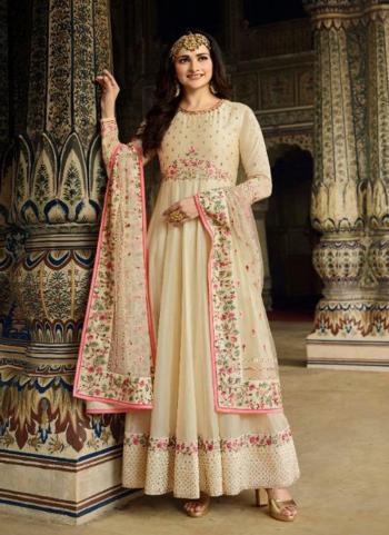 Beige Silk Party Wear Embroidery Work Anarkali Suit