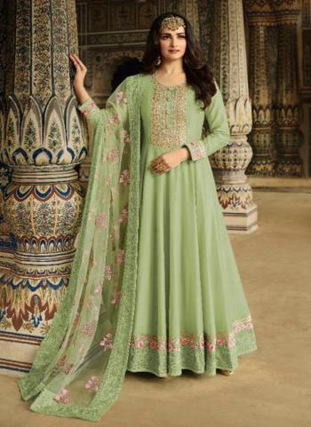 Light Green Silk Party Wear Embroidery Work Anarkali Suit