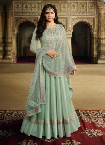 Pista Green Silk Party Wear Embroidery Work Anarkali Suit