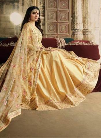 Yellow Silk Party Wear Embroidery Work Anarkali Suit