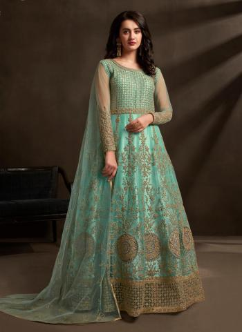 Teal Net Reception Wear Embroidery Work Anarkali Suit