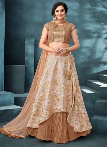Beige Jacquard Reception Wear Sequins Work Lehenga Choli