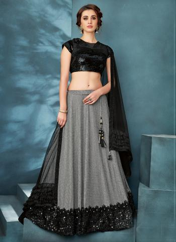 Black Lycra Reception Wear Sequins Work Lehenga Choli