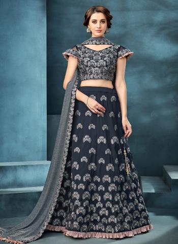 Blue Tapeta Silk Reception Wear Zardosi Work Lehenga Choli