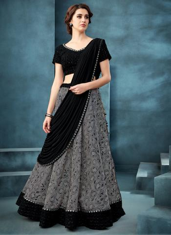 Grey Jacquard Reception Wear Embroidery Work Lehenga Choli