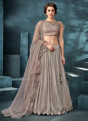 Grey Lycra Reception Wear Embroidery Work Lehenga Choli