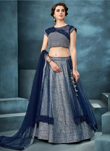 Navy Blue Net Reception Wear Hand Work Lehenga Choli