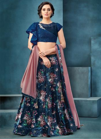 Navy Blue Velvet Reception Wear Sequins Work Lehenga Choli