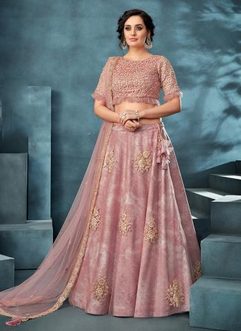 Pink Net Reception Wear Embroidery Work Lehenga Choli