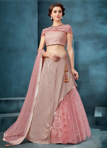 Pink Net Reception Wear Thread Work Lehenga Choli