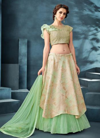 Sea Green Jacquard Reception Wear Hand Work Lehenga Choli