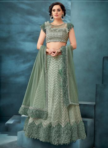 Sea Green Net Reception Wear Sequins Work Lehenga Choli