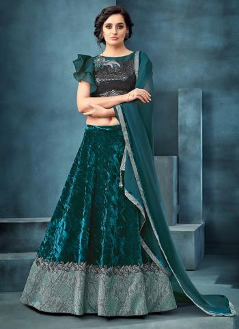 Teal Blue Velvet Reception Wear Sequins Work Lehenga Choli