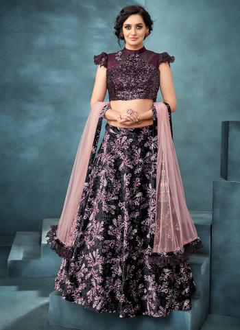 Wine Jacquard Reception Wear Embroidery Work Lehenga Choli