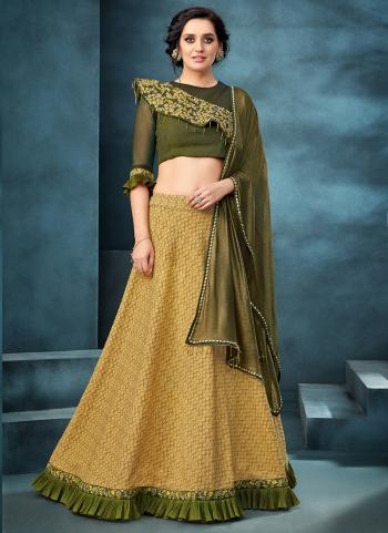 Yellow Jacquard Reception Wear Resham Work Lehenga Choli