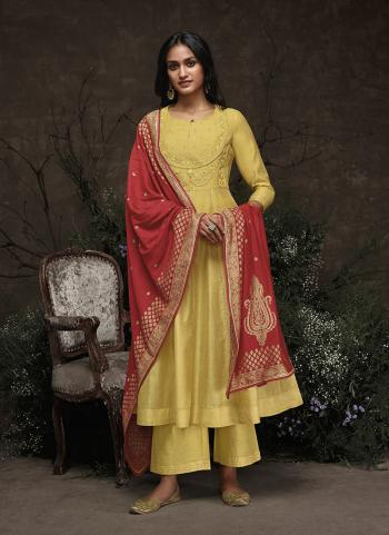 Yellow Silk Festival Wear Embroidery Work Readymade Dress
